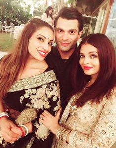 Bipasha Basu, Karan Singh Grover and Aishwarya Rai Bachchan at the Bachchans' Diwali bash. #Bollywood #Fashion #Style #Beauty #Hot #Sexy #Ethnic