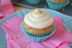 Peanut Butter Birthday Cupcakes with Banana Buttercream Frosting