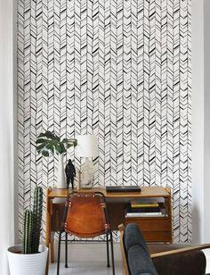Monochrome herringbone pattern Removable Wallpaper / by Betapet