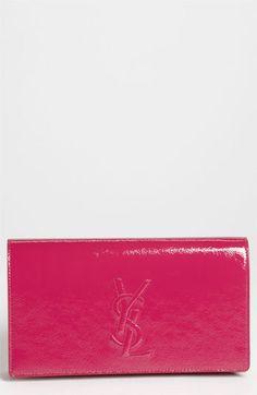 Pretty in Pink: Saint Laurent Paris 'Belle de Jour' Patent Leather Clutch #Nordstrom #YSL