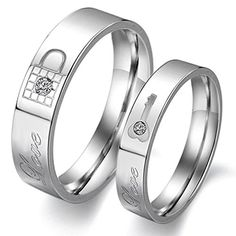 """Men's Women's Stainless Steel """"Lock and Key"""" Couple Lover's Band Rings Wedding Engagement Promise Ring with Rhinestones, Size 7 for Men. Size 5-10 for women, width 4mm; Size 7-11 for men, width 5mm; sold seperately. many styles of couple rings in our store with the lowest price, you will find the one you love. stainless steel made, it is a very classic metarial in Jewelry, never fade or tarnish, representing forever love. great gift idea for boyfriends or girlfriends or lovers in life…"""