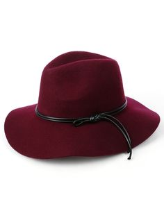 f394c7e31fb66 LE3NO Womens Floppy Wool Faux Leather Cord Fedora Hat