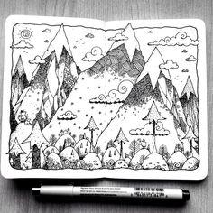 """Drawing Doodles Sketchbooks Check out my project: """"Sketchbook Project One""""… - Sketchbook Cover, Sketchbook Project, Sketchbook Drawings, Doodle Drawings, Doodle Art, Art Sketches, Ink Illustrations, Illustration Art, Posca Art"""