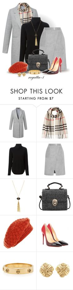 """""""Burberry and Beret"""" by regatta-1 ❤ liked on Polyvore featuring Burberry, MICHAEL Michael Kors, Halston Heritage, Panacea, Christian Louboutin, Tory Burch and Tiffany & Co."""