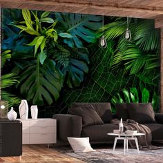 Stunning colorful livingroom decor with an amazing wallpaper 🌿🌺 ______________________________________________ 📷We do not own this picture ______________________________________________ Plant Wallpaper, Tropical Wallpaper, Photo Wallpaper, Wall Wallpaper, Wallpaper Wallpapers, Wallpaper Jungle, Amazing Wallpaper, Tropical Interior, Wall Murals