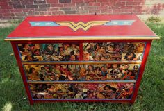 Do a similar revamp of the boys' little cabinet using leftover red paint from coffee table and decoupaged comic books. Woman Bedroom, Girls Bedroom, Bedroom Ideas, Bedrooms, Justice League Wonder Woman, Superman Wonder Woman, Best Superhero, Red Paint, Recycled Furniture