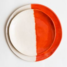 Image of Orange Dinner Plate Set & Handmade Terracotta Dinner Plates - set of 2 | Handmade Ceramic ...