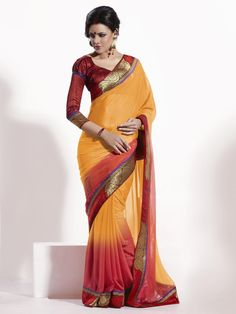 $63.70 Yellow Silk Saree 21328 With Unstitched Blouse