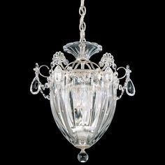 Schonbek Lighting Presents the Bagatelle Collection's 3-Light Ceiling Pendant with an Antique Silver finish. Bagatelle's Charming Character is a Fanciful Interpretation of the traditional Lantern Chandelier and features a highly Refined Display of Crystal