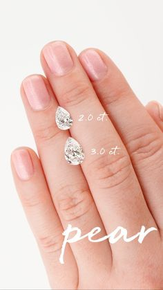 Because a picture is worth a thousand words, we've created some handy on-hand carat comparisons to help you decide which diamond shape and weight is right for you! #BrilliantEarth #peardiamond #pearcutdiamond #pear #brilliantdiamonds #diamonds #conflictfree #caratcomparison #sparkle #diamondeducation #diamondshopping #engagementring #wedding #engagementinspo Brilliant Earth, Brilliant Diamond, Pear Diamond, Diamond Cuts, Pear Shaped Engagement Rings, Ring Engagement, Engagement Inspiration, Diamond Shapes, Fine Jewelry