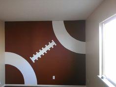 Football wall in Crue's nursery.