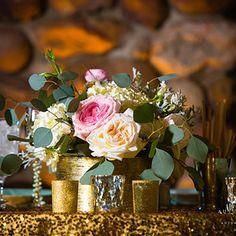 gold and blush centerpiece - www.bellacalla.com - Bella Calla - Denver Vail Aspen Florist
