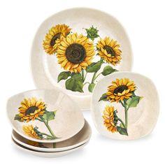Lorren Home Trends 5 Piece Sunflower Pasta Set | Overstock.com Shopping - The Best Deals on Serving Bowls