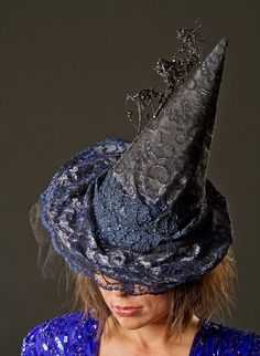 Blue/Black Couture Witch Hat by REDMakeup on Etsy, $150.00
