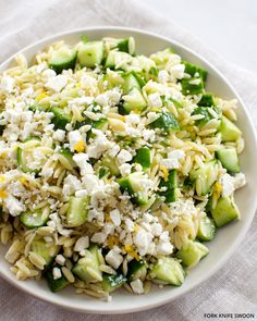 Lemony Orzo Pasta Salad with Cucumber and Feta - light and refreshing pasta salad. Orzo pasta tossed with fresh cucumber, herbs and salty feta for an easy summer salad that makes a great barbecue or pot-luck side dish. Cucumber Pasta Salad, Summer Pasta Salad, Summer Salads, Lemon Orzo Salad, Feta Pasta, Orzo Salad Recipes, Seafood Salad, Cold Pasta Salads, Risotto