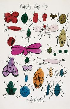 Happy Bug Day, Andy Warhol, c. 1954     This fabric was designed by Andy Warhol in 1955     The bug print was based on a series of drawings and a greeting card Warhol made in 19…