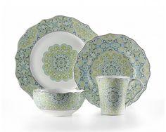 Lyria Teal 16-PIECE DINNERWARE SET - Dinnerware - Dining | Stokes Inc. Canada's Online Kitchen Store