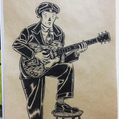 昔のブルースマンの若干無茶なポーズのアー写がいい。#yassutaka #art #illustration #drawing #painting #pen #ink #gent #blues #guitar #fashion #outlaw #vintage #lowbrow #customculture #music #1930s #ragged #dapper #suit