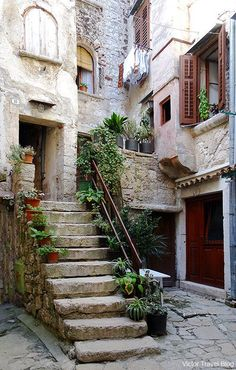 Croatia Travel Inspiration - A courtyard in the old Rovinj, Croatia.  victortravelblog....