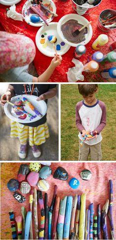 Kids Camp Crafts - Hand Painted Sticks & Rocks, God's Eyes, Pom Pom Pinecones & Hula Hoop Weavings via Honesttonod.com