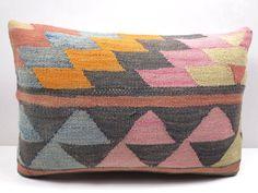 "Vintage Turkish Rug Kilim Lumbar Pillow Cover 20""X14"" Rug Cushions,Throw Pillows #Turkish"