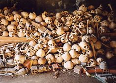 Killing Fields genocide in Cambodia. The Khmer Rouge killed 21% of the country's population during its reign 1975-79
