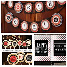 40th Birthday party decorations.  Boutique 3 piece box.   Black, Red and Gold/ polkadots.  Fully assembled and customizable. by CharmingTouchParties on Etsy