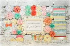 DIY Headband Making Kit - First Birthday Party - Baby Shower Headband Station - MAKES 25+ HEADBANDS!!  Light Pink, Mint, Coral, White, Ivory...