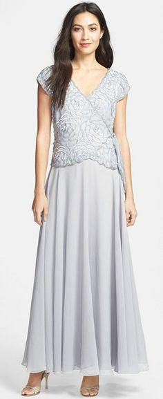 New J KARA Embellished Beaded Mock 2 pc Gown Dress Silver Cap Sleeve Size 14 #JKara #Formal