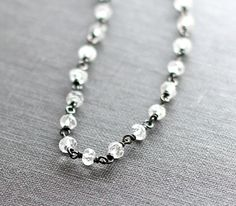 White Topaz Bracelet Oxidized Silver Beaded by ZhivanaDesigns