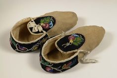 Adult women's moccasins. Ojibwe. Late 19th or early 20th century. Deerskin, sinew thread, velvet, silk trim, cotton thread, glass beads. Cass County Museum and Historical Society