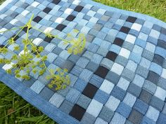 Rustic Woven Denim Rug - shades of blue, and black