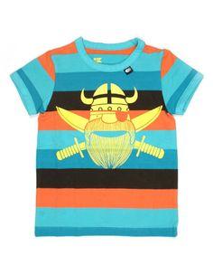 Bruin oranje blauw gestreepte T-shirt met gele piraat - Danefae