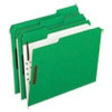 Desk Supplies>Desk Set / Conference Room Set>Holders> Files & Letter holders: Colored Folders With Embossed Fasteners, 1/3 Cut, Letter, Green/Grid Interior