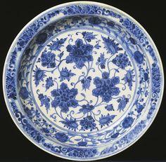 Ceramic dish with blue underglaze decoration  Iran; 2nd half of 15th cent.