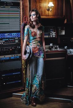 In Bloom - Blumarine Spring Summer 2015 • Tulle dress with floral embroidery. • L'OFFICIEL, Russia - August 2015