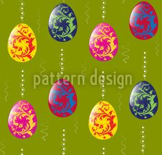 Embellished Easter Eggs created by Figen Topbas Fukara offered as a vector file on patterndesigns.com Vector Pattern, Pattern Design, Coloring Easter Eggs, Repeating Patterns, Vector File, Abstract Pattern, Easter Bunny, Ornaments, Create