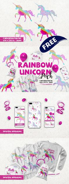 Free Rainbow Unicorn and Seahorse Graphic Packs + Favorite $1 Images!