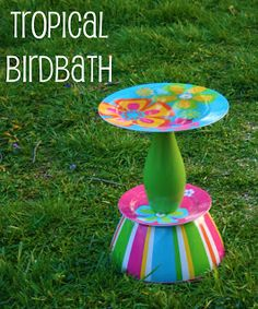 Upcycled birdbath made from Dollar Store items