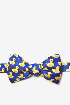 Blue Silk Rubber Duck Self Tie Bow Tie   Ties.com - Free Shipping on $45