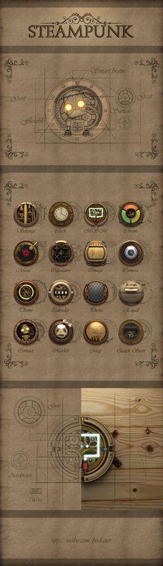 Steampunk ikon set by aiki007, via zcool *** #icon #gui #steampunk: