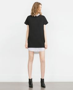 ZARA - WOMAN - DRESS WITH CONTRAST NECK AND HEM