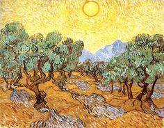 Ultimissime dall'orto: gli Ulivi con cielo giallo e sole di #VanGogh diventano land art