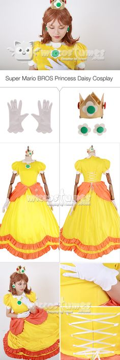 This Super Mario BROS Princess Daisy Cosplay Costume is a combination of Japanese sweet, Italy romantic and French grace. Super Mario Bros, Princess Daisy, Disney Princess, Mario Cosplay, Cosplay Costumes, Halloween Costumes, Vintage Video Games, Japanese Sweet, Princesses