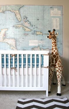 Great gender neutral nursery idea! Love the map