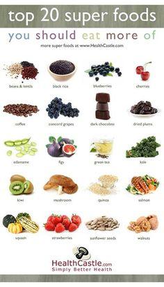 Top 20 Super Foods  #b6fit #iworkout www.b6fit.com facebook.com/b6fit