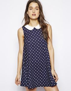 $41, Polka Dot Collared Dress by Influence. Sold by Asos. Click for more info: http://lookastic.com/women/shop_items/195358/redirect