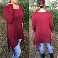 Side fringe hem tunic Burgundy tunic with side fringe hem. Please do not purchase this listing. Comment with size and I will create a new listing for you. Small (2/4) Medium (6/8) Large (10/12). Price is firm unless bundled. Tops Tunics