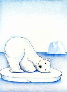 Polar Bear On Ice, Polar Bear Cartoon, Cute Polar Bear, Polar Bears, Polo Norte, Polar Bear Drawing, Eskimo, Cute Illustration, Polar Bear Illustration