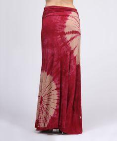 CottyOn Burgundy Tie-Dye Shirred Convertible Maxi Skirt | zulily